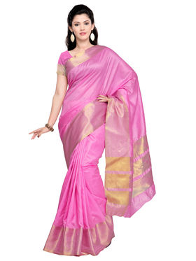 Admyrin Tussar Silk Plain Saree - Pink - ADM-SR-SNH-10011