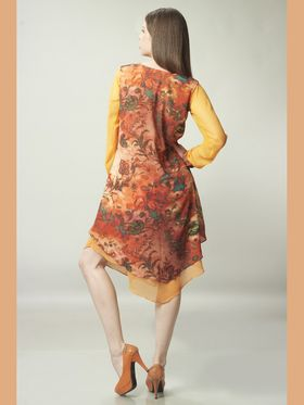 Admyrin Georgette Printed Kurti - Orange - 1289