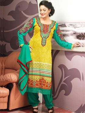 Admyrin Cambric Cotton Printed Dress Material - Yellow+Green - 7009