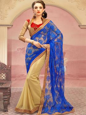 Admyrin Georgette+Net Jacquard Printed Saree - Golden+ Blue - 1205