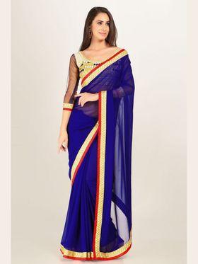 Admyrin Georgette Printed Saree - Royal Blue - 16004