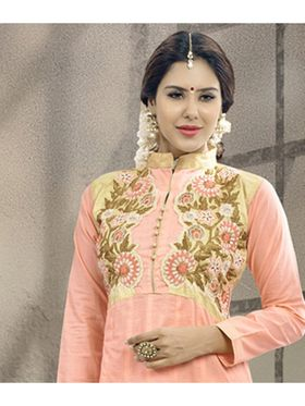 Viva N Diva Semi Stitched Cotton Embroidered Suit Amigo-12004
