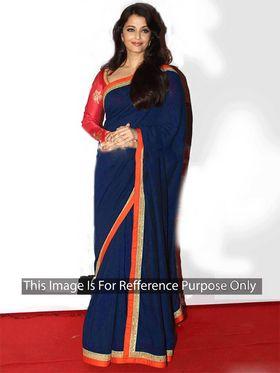 Arisha Georgette Embroidered Saree - Blue - 399