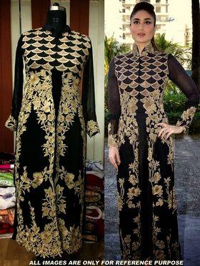 Arisha Georgette Embroidered Semi-Stitched Anarkali Suit - Black - 6112