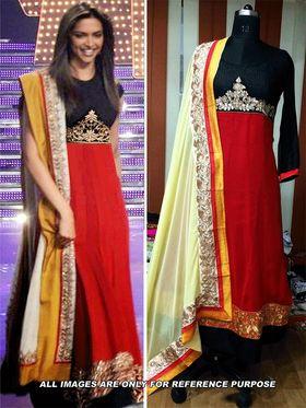 Arisha Georgette Embroidered Semi-Stitched Anarkali Suit - Red And Black