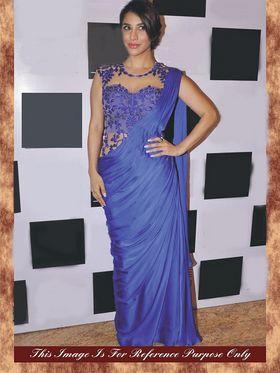 Arisha Silk Embroidered Saree - Blue - 7006