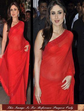 Arisha Chiffon Embroidered Saree - Red