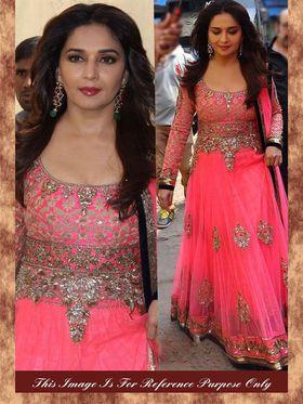 Arisha Net-Georgette Embroidered Semi-Stitched Anarkali Suit - Pink