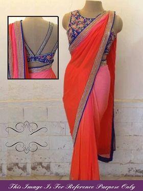 Arisha Georgette Embroidered Saree - Multicolour - 7066