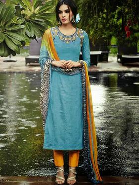 Arisha Enterprises Pure Cotton Embroidered Dress Material - Blue - ARA407