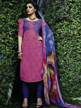 Arisha Enterprises Pure Cotton Embroidered Dress Material - Pink - ARA413