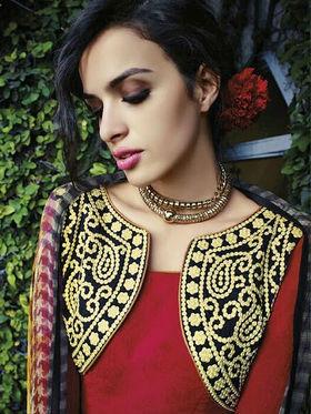 Arisha Enterprises Pure Cotton Embroidered Dress Material - Red - ARA414