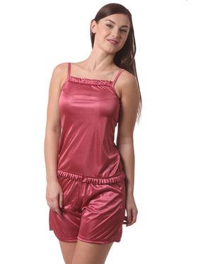 Set Of 3 Being Fab Satin Lycra Solid Nightwear -fbl15