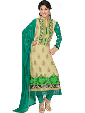 Styles Closet Embroidered Georgette Semi-Stitched Beige Suit -Bnd-6079