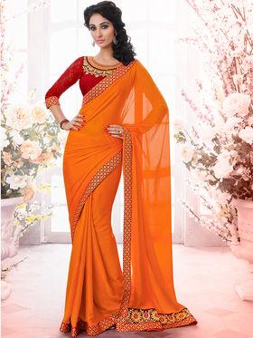 Bahubali Satin Jacquard Embroidered Saree - GA.50402