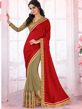Bahubali Crepe Jacquard And Georgette Embroidered Saree - GA.50407
