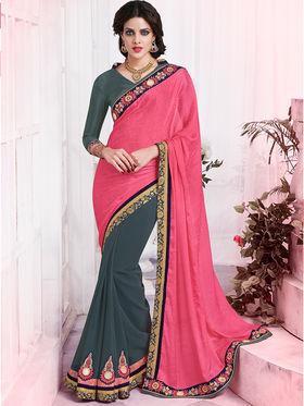 Bahubali Crepe Jacquard And Georgette Embroidered Saree - GA.50422