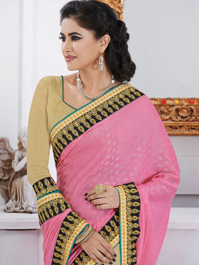 Bahubali Jacquard Embroidered Saree - Pink - GA.50205