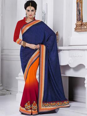 Bahubali Silk Jacquard Embroidered Saree - Violet - GA.50213