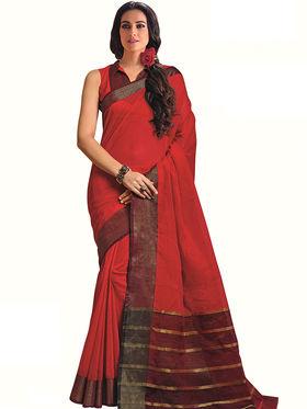 Nanda Silk Mills Plain Cotton Red Saree -Berry