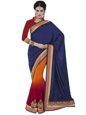 Lovely Pack of 3 Embroidered Sarees - By Bahubali