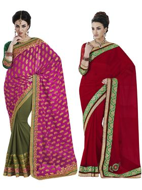 Alluring Pack of 2 Heavy Embroidered Sarees - By Bahubali