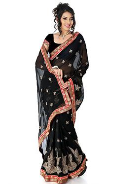 Embroidered Chiffon Saree - Black-1383