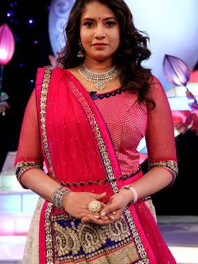 Celebrations Special Pink & Cream Lehenga Saree from Aaha Enna Porutham (806-G)
