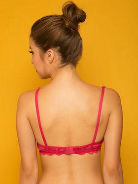 Clovia Blended Printed Bra - Hot Pink