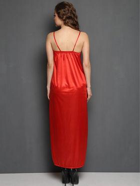 Set of 15 Clovia Satin Blend Plain Nightwear - Red