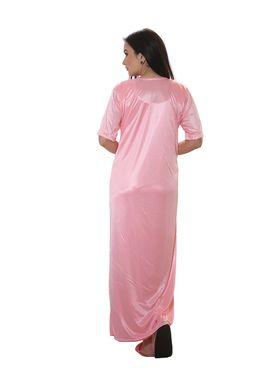 Set of 2 Clovia Satin-Nylon Lace Plain Nightwear with Robe - NSM283P62