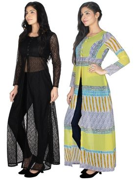 Pack of 2 Arisha Printed Georgette & Plain Net Front Open Kurtis -ars153