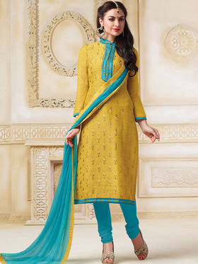Viva N Diva Semi Stitched Banarasi chanderi Embroidered UnStiched Suits  Color-Blossom-03-1052
