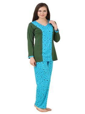 Fasense Shinker Cotton Solid Printed Nightwear Set of Top & Pyjama -DP172B1