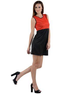 Arisha Viscose Solid Dress DRS1007_Rd-Blk