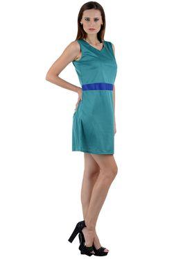 Arisha Viscose Solid Dress DRS1010_Trq-Blu