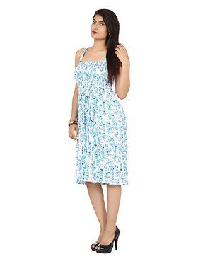 Arisha Cotton Printed Dress DRS1017_Wht-SkyBlu