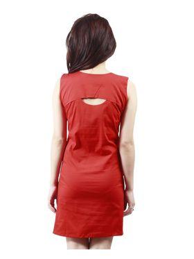 Arisha Cotton Solid Dress DRS1019_Rd