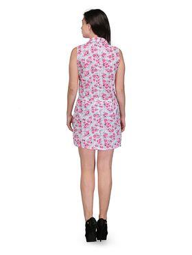 Arisha Cotton Printed Dress DRS1020_Wht-Pnk