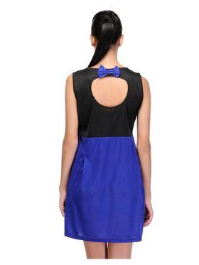 Arisha Viscose Solid Dress DRS1024_Blu