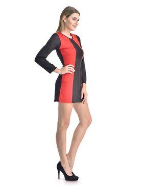 Arisha Viscose Solid Dress DRS1067_Blk-Rd