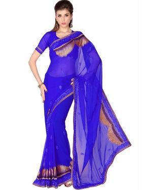 Designersareez Faux Georgette Embroidered Saree - Royal Blue