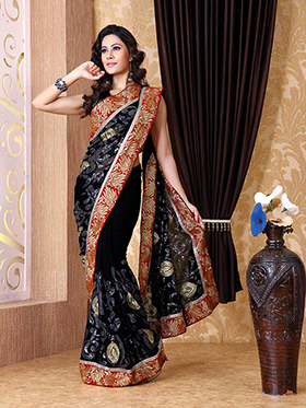 Embroidered Chiffon Saree - Black-1305