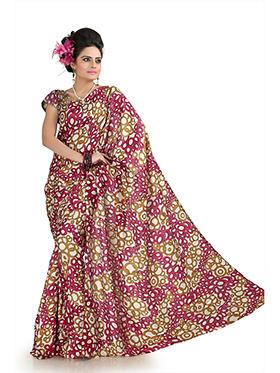 Printed Khadi Silk Saree - Maroon & Mustard