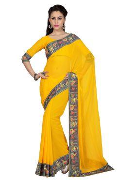 Designer Sareez Faux Georgette Printed Saree - Yellow - 1598