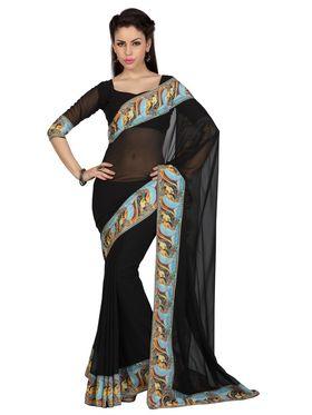 Designer Sareez Faux Georgette Printed Saree - Black - 1604