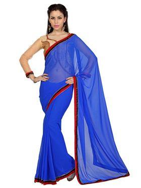 Designer Sareez Faux Georgette Embroidered Saree - ROYAL BLUE - 1621