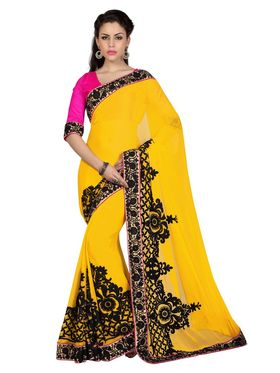 Designer Sareez Chiffon Embroidered Saree - Yellow - 1677