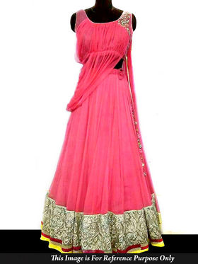 Ethnic Trend Net Embroidered Gown - Pink - 5302
