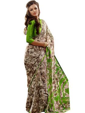 Ethnic Trend Chiffon Printed Saree - Multicolour - 11036